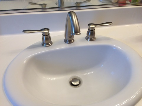 Grohe widespread lavatory faucet.